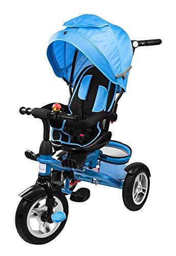 Profiseller Chiccot8 in 1 Triciclo per Bambini Passeggino - Ruote Piene di Schiuma, Sedile Girevole e Shock Absorber - Una Bicicletta modulare Molto sicura per Il Tuo Bambino (Blu)