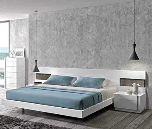 HM Nicolas Low Height Queen Size Bed Without Storage (Finish: White Pu Paint)