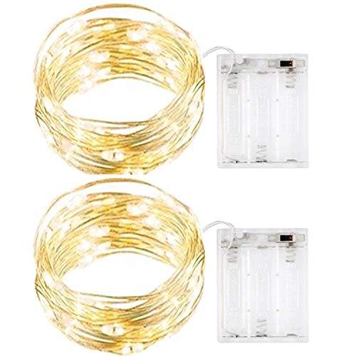 InteTech 2 di 5 metri 50 LED Battery Operated luci della stringa legare d'argento Luce natalizia...
