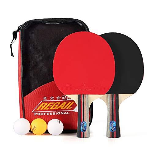 VGEBY1 Juego de Palas de Ping-Pong, 2 Piezas, 7 Capas, Raqueta de Ping-Pong de Madera, Bolsa de Almacenamiento y Bolas para Entrenamiento y práctica de Ping-Pong para 2 Personas, Entretenimiento