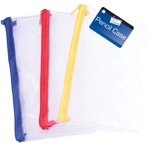 Just Stationery - Astuccio per matite per esame, da 20,32 cm, trasparente