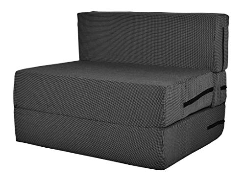 ComfyBean 1 Seater Space Saving Furniture Foldable Sofa Cum Bed with Removable Washable Cover (3 X 6 ft, Dark Grey)