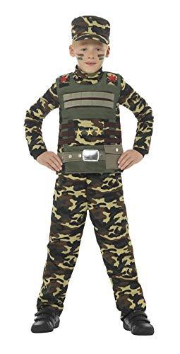Smiffy'S 48209L Disfraz De Camuflaje Militar Para Niño De Color Con Parte De Arriba, Verde, L - Edad 10-12 Años
