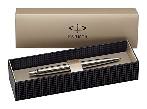 Parker S0705560 Jotter-Kugelschreiber (Edelstahl mit Chromverzierung, Geschenkbox) schreibfarbe blau