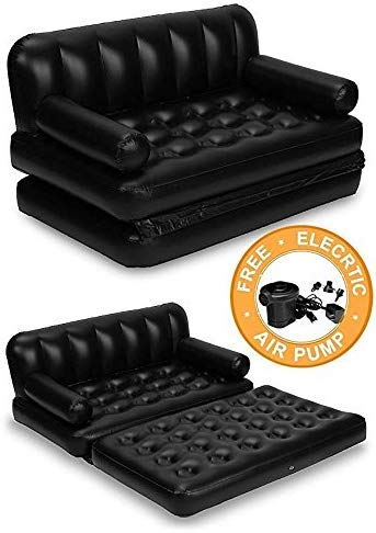 Keton Air Sofa Bed 5 in 1 Inflatable Couch with Electric Pump (Black)
