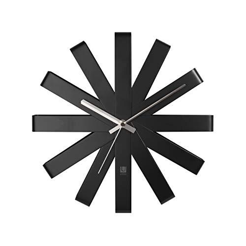 Umbra Ribbon Orologio da Parete Nero, Metallo, 30.48x30.48x5.21 cm, 3 unità
