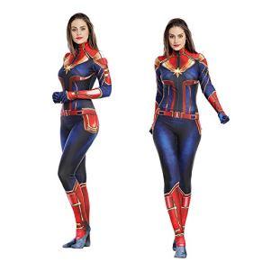 Gerzely Capitán Marvel Camuflaje Juegos De Vestuario, Moda Sexy Avengers Superhéroe Traje De Batalla Adulto Juego De Roles Ropa Trabajo Medias Fiesta De Halloween Mascarada Conjunto De Carnaval,L
