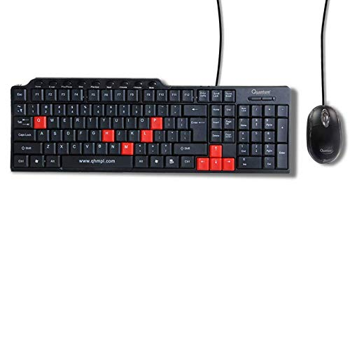 QUANTUM QHM8810 Spill-Resistant Wired Keyboard and Mouse Combo (Black)