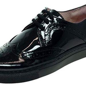 Petasil Girls Pan Patent Leather Black Lace Up School Shoe 41yztAgAa8L