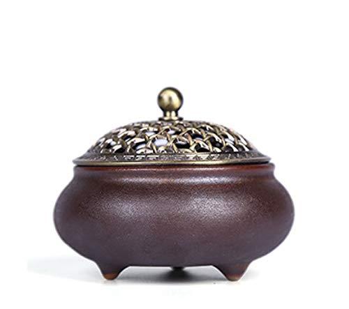 Porta incenso Censer Vintage del Forno di incenso Spirale di incenso in Ceramica con Coperchio in...