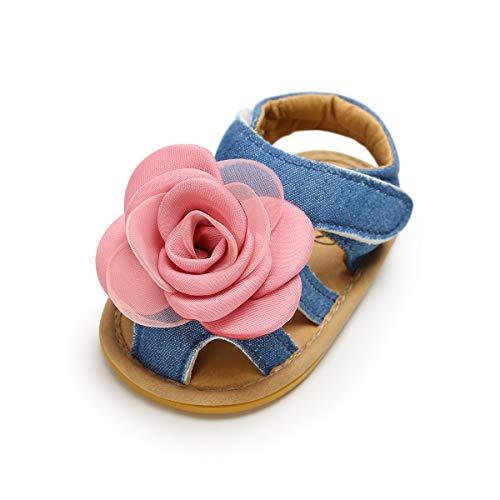 LACOFIA Sandali estive per neonata Scarpe da Primi Passi per Bambina con Fiore Blu 6-12 Mesi