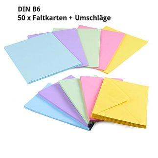 Sparset-50-x-Faltkarten-DIN-B6-blanko-farbig-gemischt-50-x-Umschlge