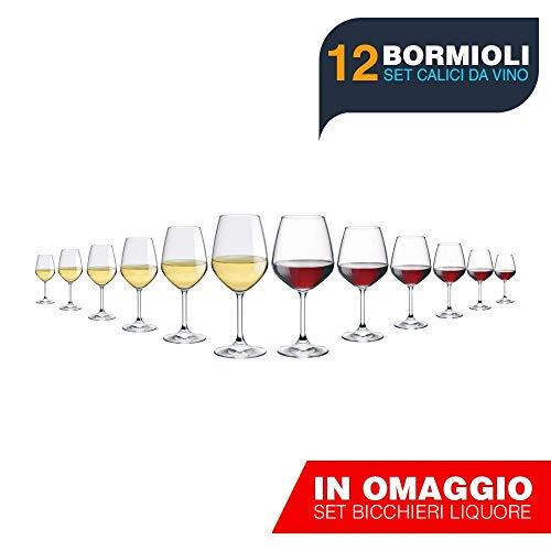 BuyStar Rocco Bormioli Set Bicchieri Calici DIVINO 12 Pezzi, 6 Vino Bianco (44,5 Cl) 6 Vino Rosso (53 Cl)