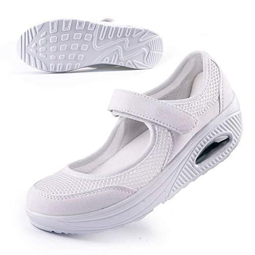 Bebiny Women's Comfort Walking Anti-Slip White Breathable Wedges Sneaker for Fitness