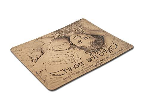 Gravina® - Tappetino per Il Mouse in Pelle Riciclata, Personalizzabile con Incisione Laser Marrone mit Fotogravur