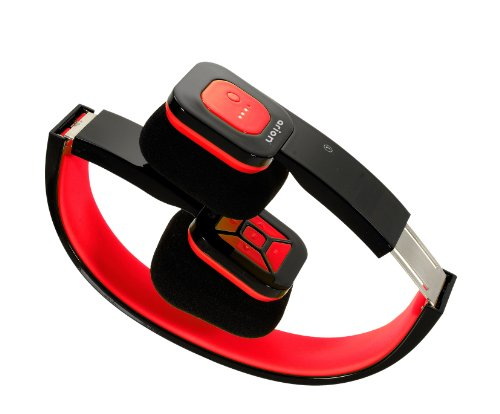 Eagle Tech Arion ARHP200BF Foldable Bluetooth Headphone with Wireless Music Streaming and Hands-Free Calling, Includes Hard Travel Case - Black/Red