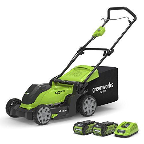 Greenworks 40V Cordless Lawn Mower with 2x 2Ah battery and charger, 2-in-1, Cutting Width 41cm, 50L Grass Box - 2504707UC