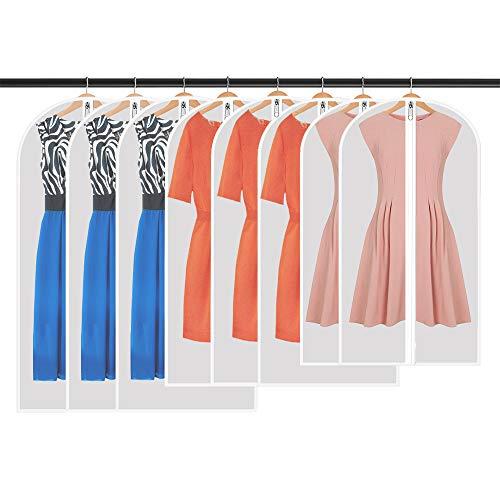 WILWOLF Kleidersack,Hochwertiger Kleidersäcke,Transparent,8 Stücke, 120 x 60 cm + 100 x 60 cm + 80 x 60 cm,für Anzüge Kleider Mäntel Sakkos Hemden Abendkleider Anzugsack Aufbewahrung