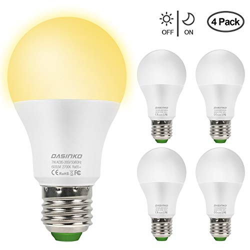 Lampadina Con Sensore, 7W E27 Lampadina LED con Sensore Crepuscolare Luce Notturna con Automatico...