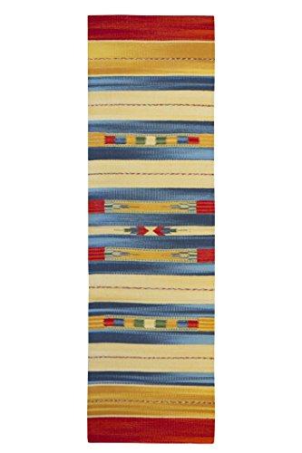 Jute & Co. Kilim Tappeto, Passatoia in Cotone di Alta qualità Tessuto a Mano, Multicolore, 60 x 200...