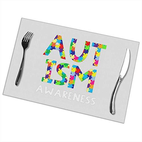 Autism Awareness Puzzle Piece Print Table tovagliette Heat-Resistant Non-Slip Stain Resistant Table...