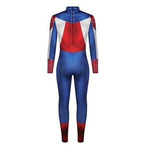 WSJ Disfraces de Halloween para Hombres, Spiderman de impresión Digital 3D para Hombres con impresión en la Espalda - Traje Sexy Mono Casual Masculino para Desfile y Rendimiento,C,XXL