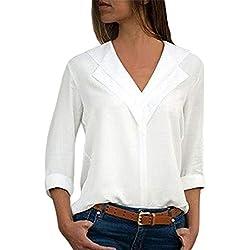 Camisas Mujer Tallas Grandes,❤️ Modaworld Moda Camiseta sólida Mujer chifón Blusas de Oficina de Manga Larga Lisa de Mujer Elegantes de Vestir Fiesta Camisetas Chica