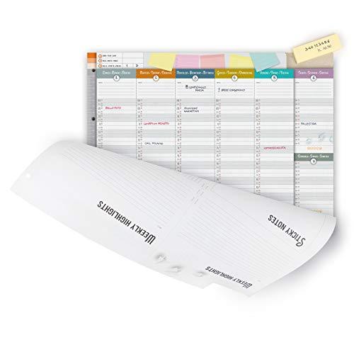 IMUMI Planner settimanale perpetuo da tavolo - fronte e retro - fori archiviazione in raccoglitore...