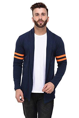 DENIMHOLIC Men's Cotton Open Long Cardigan (Navy, Large)