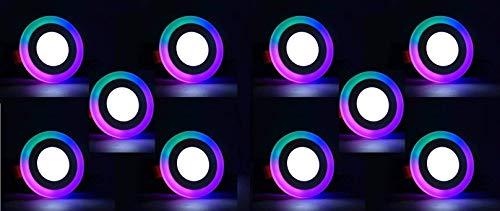 """""""Happy Selling"""" 6 Watt (3+3) Round Double Colour LED Conceal Panel Side 3D Effect Light (White and PGB) - Pack of 10"""