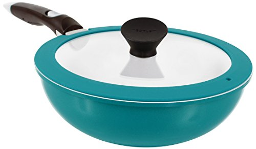 Neoflam Midas Plus 3-piece Ceramic Nonstick Chef's Pan with Detachable Handle, Emerald Green