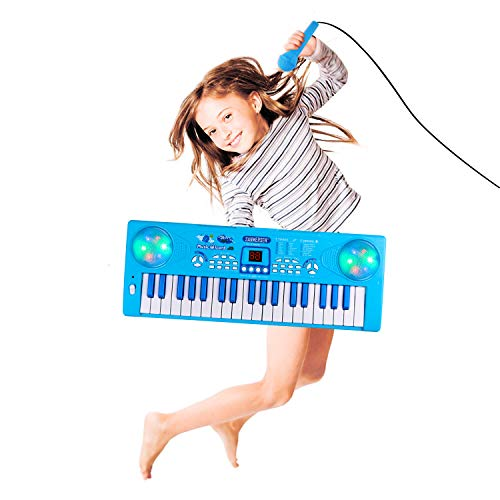 Shayson Piano para niños, tecla 37 Teclado electrónico multifunción Juego Piano Órgano con micrófono Juguete Educativo para niños pequeños Niños Niños (Azul)