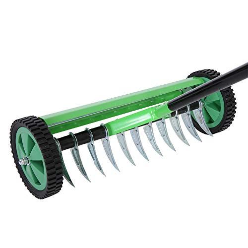 SOULONG - Práctico Ventilador de césped, rastrillo de Acero galvanizado y Polipropileno, Dale vitalidad al césped, escarificador Manual con 44 cm de Ancho de Trabajo