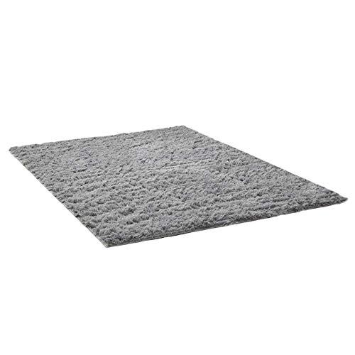 THEE Tappeto peloso morbido e antiscivolo da sala da pranzo e da camera da letto (160x120cm, Gray)