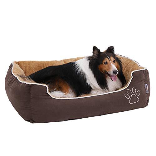 FEANDREA Weiches Luxus Hundebett, L, mit abnehmbarem Kissen, Braun, Beige 90 x 25 x 75 cm PGW06YC