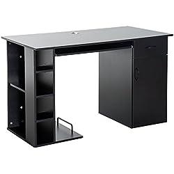 Mesa de PC Mesa de Ordenador Escritorio de Oficina Mesa con Almacenamiento mobiliario de despacho y oficina 120x60x74cm Madera Negro