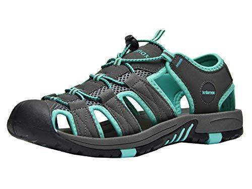 Knixmax-Sandalias de Senderismo para Hombre Mujer,Calzado de Verano Exterior Antideslizante Senderismo Zapatos Trekking Casual Zapatos de Montaña Playa Sandalias,38-46EU EU45 (UK11) Dark Grey
