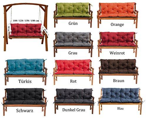 MH Gartenbankauflage Bankauflage Bankkissen Sitzkissen 100 x 60 x 50 cm Polsterauflage Sitzpolster (Weinrot)