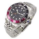 Parnis 40mm Black Dial Sapphire Luminous Pepsi Bezel GMT Dual Time Zone Automatic Movement Men's Watch