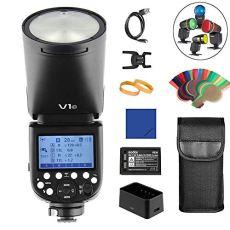 Godox V1C Round Ring Camera Flash Speedlite TTL 2.4G 1 / 8000s de Alta Velocidad Sync + 2600 mAh batería de Litio para Canon EOS Series (E-TTL II autoflash)