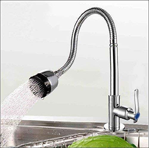 Vellex 360 Degree Swivel Spout Pull Down Flexible Spray Kitchen Taps Single-Tube Vanity Vessel Cold Water Faucet Chrome Finish Stainless Steel Bathroom Sink top Mount (Standard Size, Silver)
