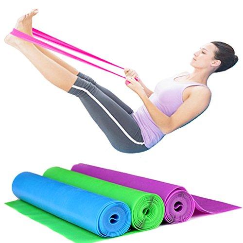 Set di 3 bande elastiche in gomma per fitness, da 150x 15cm, bande di resistenza per yoga,...