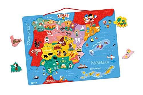 Janod Mappa Magnetica Spagna 50 Pezzi (Legno),, J05478