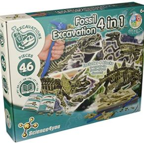 Science4you - Excavaciones Fósiles 4 en 1 - Juguete Científico y Educativo con Dinosaurios para Niños +6 Años