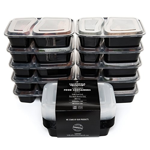 Fiambreras apilables de calidad con 2 compartimentos, de California Home Goods (paquete de 10). Con tapadera, aptas para microondas y lavavajillas, reutilizables, compartimentos divididos estilo bento