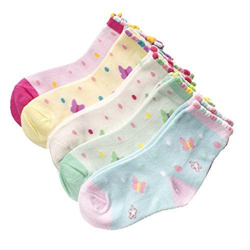 Cczmfeas Calcetines de niña Calcetines de Mariposa algodón con textura gruesa 5 pares de calcetines