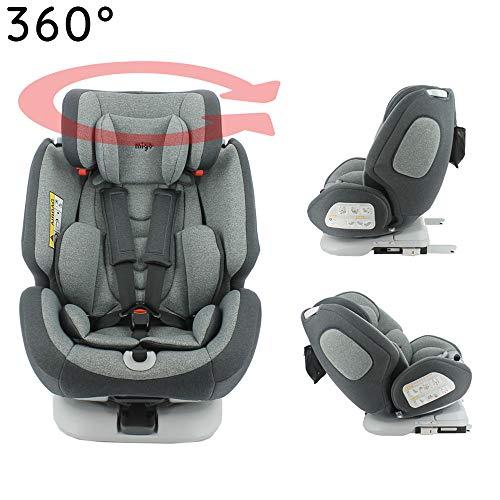 MIGO-Seggiolino Auto Isofix e girevole a 360° e reclinabile gruppo 0/1/2/3 (0-36kg) - ultra confortevole - Protezione laterale