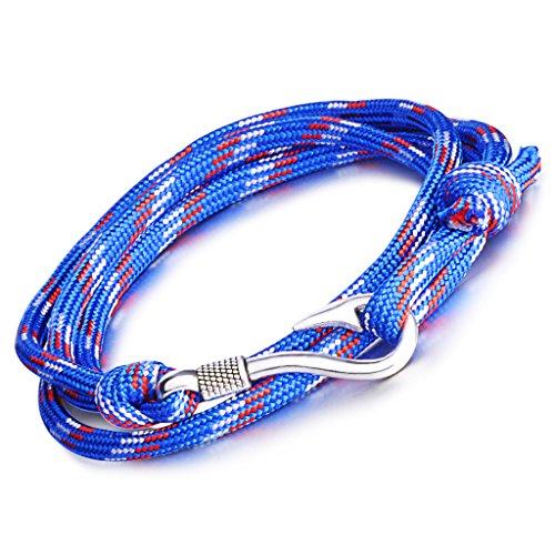 Infinite U, bracciale punk con ciondolo a forma di amo da pesca, per uomo e donna in corda di nylon intrecciato colorato lega di 4 fili, bracciale con ciondolo bracciale da polso e Lega colore:Blue