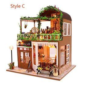 Minsong DIY 3D Dollhouse, Kit De Muebles En Miniatura De Madera Mini Doll House Playset, Los Mejores Regalos De Cumpleaños De Navidad para Niños Y Adultos (Style C)
