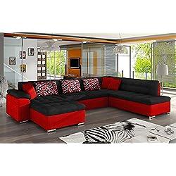 OUTLET !! Ecksofa Niko ! Design Sofa Couch! mit Schlaffunktion! U-Sofa, Chenille + Velour, Wohnlandschaft vom Hersteller (Ecksofa: Links, Awilla 13 + Awilla 26 + Amber 70)